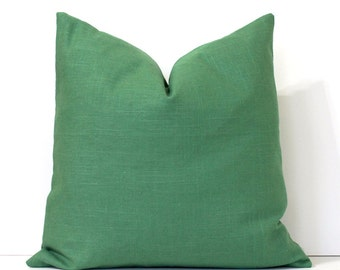 Emerald Green Designer Pillow Cover .  Accent Cushion malachite solid color linen pantone emerald kelly grass green