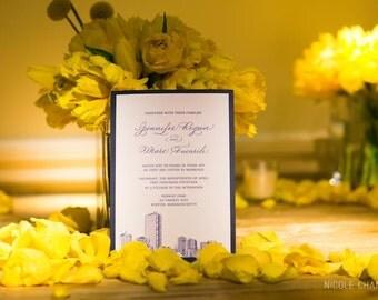 Cityscape Wedding Invitation, Any City, Pocketfold invitation, nautical invitation, custom invitation
