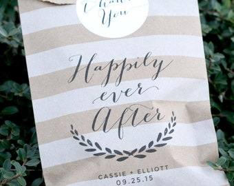Happily Ever After Custom Printed Favor Bag- Personalized - Wedding Favor Bag - Treat Bags - Candy Bags - 25 bags