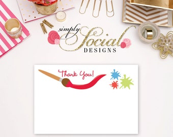 INSTANT DOWNLOAD Printable Kid's Painting Party Thank You Card
