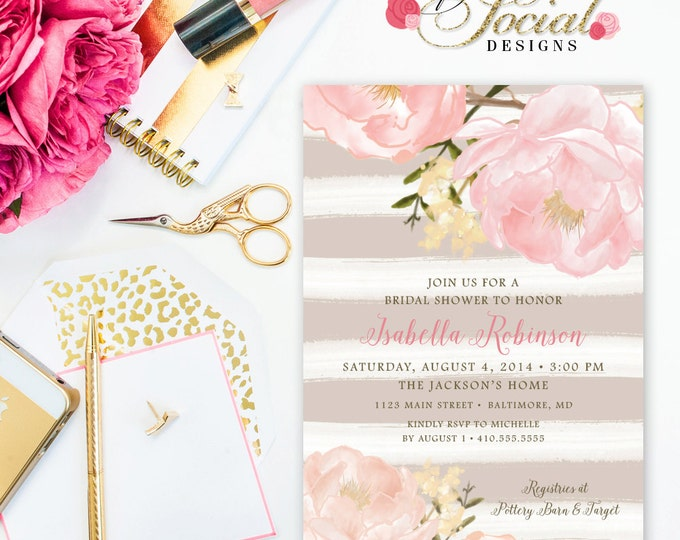 Peony Bridal Shower Invitation - Romantic Garden Peonie Flowers Taupe Stripes Blush Pink Bridal Shower Invitation Printable