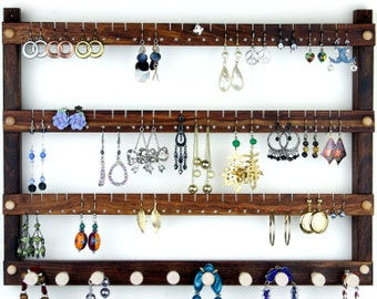 Jewelry Display - Earring Holder, Hanging, Caribbean Rosewood, Wood. Holds 72 pairs with10 peg Necklace Holder.  Wall Mounted Jewelry Holder