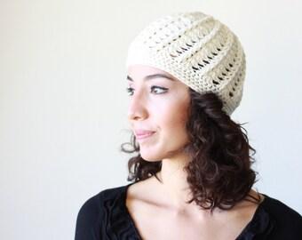 Cream women crochet beanie, Winter hat women, crochet hat, ladies beanie, lightweight beanie, cream trend hat