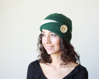 Womens knit hat, Lucy Hat, Womens beanie, Green Winter beanie for women, Knit beanie hat, Winter hat, Womens hat