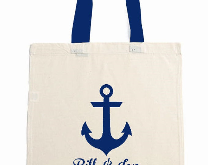 Colored Handles, Wedding Tote Bag with Anchor, Nautical, Beach, Cruise Personalize FREE, Bridesmaid