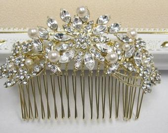 Gold bridal hair comb gold wedding hair jewelry gold bridal hair accessory gold wedding hair comb gold bridal headpiece wedding hair jewelry