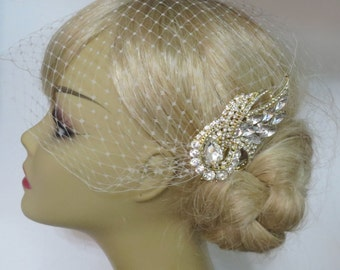 Golden Comb and Birdcage Veil ,bridal veil, Floral Hair Comb, Wedding Hair Comb, Bridal Hair Comb, Gold Comb Gold Plated a headpieces rhines