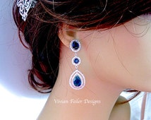 SAPPHIRE Wedding Earrings BLUE Prom Pageant Jewelry Tear Drop Cubic Zirconia  Bridal Wedding Jewelry Glamorous Bling
