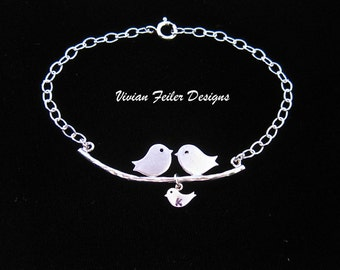Family Jewelry Love Birds Bracelet Charm 1 2 3 4 5 Babies Expecting Mom Sterling Silver MOTHER DAY JEWELRY