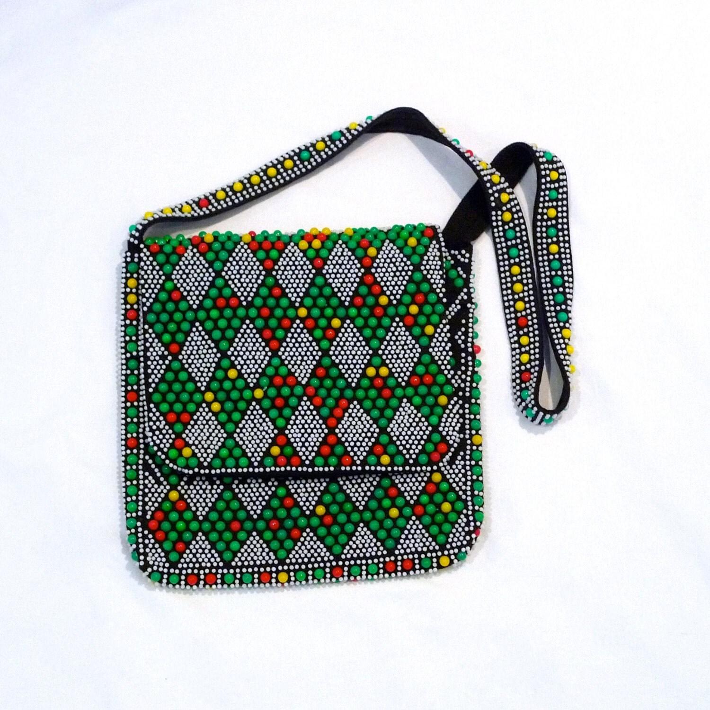 Beaded Diamond: Diamond Pattern Beaded Shoulder Bag Vintage Candy Dots Beads