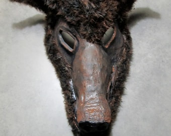 One of a kind, Werewolf, Wolf Costume Mask, Masquerade, Halloween, Carnival mask, Halloween mask. brown wolf, ooak, hand sculpted