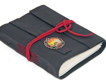 Black Leather Wrap Journal with Retro Comic Cameo Bookmark  - Ready To Ship