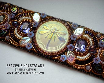 Bead Embroidery Bracelet Cuff Dragonfly Purple Mauve Aubergine Gold bead embroidered - fashion - OOAK
