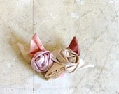 fabric flower brooch - large fawn blooms