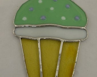 Stained Glass Cupcake with Pastel Green Icing