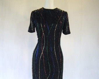 Colorful Ribbons Beaded Celebration Party Dress