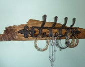 Rustic Jewelry Holder, Reclaimed Wood Jewelry Organizer, Jewelry Display, Necklace Hanger, Bracelet Holder, Wall Mounted, Jewelry Hanger
