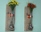 Hanging Vase Reclaimed Wood and Copper - Set of 2