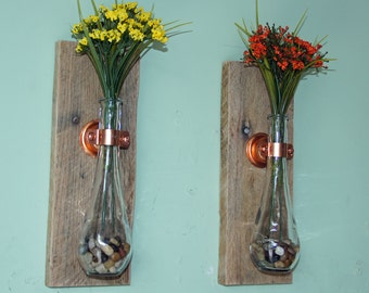 Rustic Wall Vases, Hanging Vases,  Reclaimed Wood and Copper, Wall Sconce, Wall Mounted Flower Vases, Hanging Flower Vases,  Set of 2