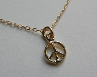 Tiny Peace Necklace (Gold)