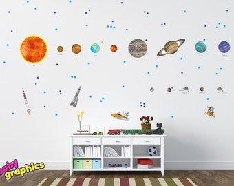 Large Solar System Wall Decals Removable Vinyl u0026 Fabric (all the Planets in  the Solar System with names) - repositionable (by babygraphics