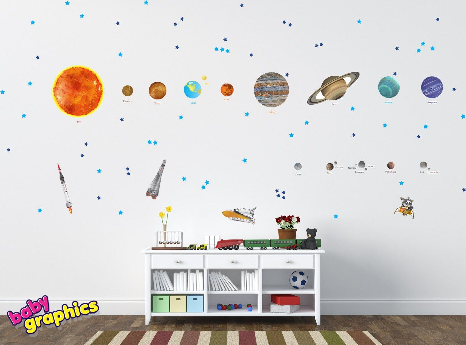 Large Solar System Wall Decals Removable Vinyl & Fabric all