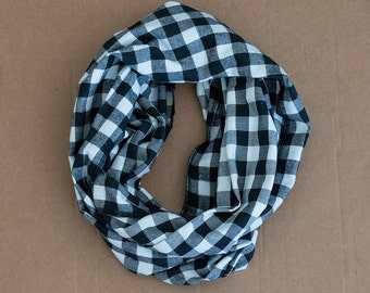 CLEARANCE!! Cotton Infinity Scarf - Black White Buffalo Plaid - Brushed woven cotton flannel - ready to ship