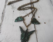 fairy necklace green verdigris patina leaves necklace antiqued bohemian jewelry boho style nude fey faerie pendant pagan wiccan