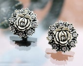 Black and White Featherweight, Bubbleite Earrings with Floral Design