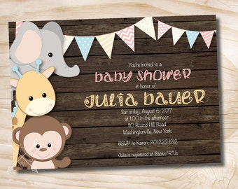 Printable Invitation Jungle Animals Wooden Plank Baby Shower Invitation - Printable Digital file or Printed Invitations