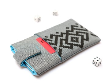 Microsoft Lumia 950, Lumia 950 XL sleeve case cover pouch handmade with magnetic closure light jeans with pocket and black ornament pattern