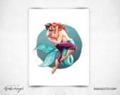 Sailor and Merman  - 8x11 Print