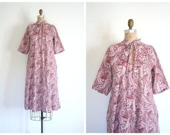 1970s English paisley & floral print smock dress - soft flannel dress / vintage Laura Ashley smock - dusty rose flannel dress / Dolly Kei