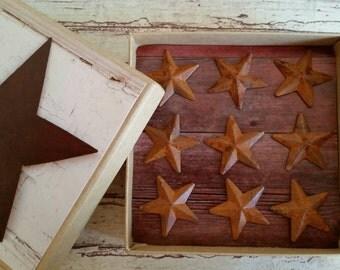 Rusty primitive tin star pushpins