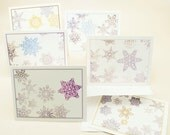 ON SALE - 12 Blank Notecards, Holiday Christmas Paper Cut Snowflakes
