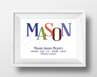 Mixed Typography Birth Announcement Print - Horizontal - Printable Art - DIY Prints