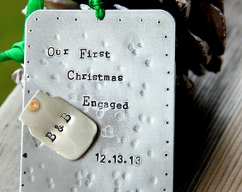 Engaged Christmas Ornament / Engaged/ First Christmas Engaged/ Mason Jar/ Mason Jar Ornament / Winter Wedding Favor/ Wedding Favor Gift