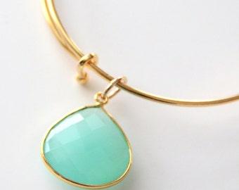 Gold Bangle Bracelet - Aqua Chalcedony Gold Bangle - Gold Initial Bracelet - 24K Gold Plated Bracelet - Gold Bracelet - Gold Bangle Set -