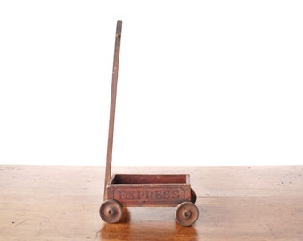 Vintage express wagon pull toy, child's wooden toy, Newton & Thompson, 1930s, 1940s, natural brown, rustic primitive americana folk art AAFA