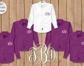FREE Button Up Set of 7 or MORE Monogrammed Button Ups, Deep Berry Button Up, Oxford Shirt, Button Up Shirt, Brides Shirt, Boyfriend Shirt