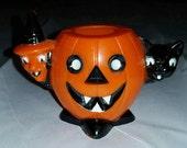 Vintage 1950s Rosbro Halloween Candy Toys - Hard Plastic - Pumpkin/Black Cat/Witch