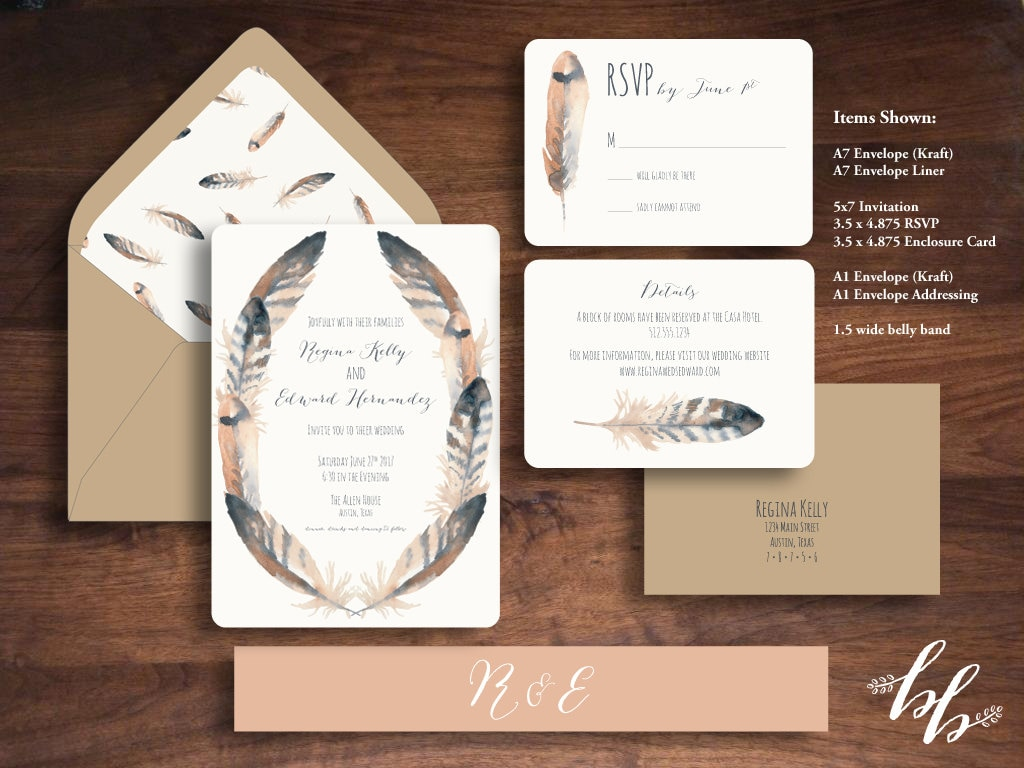 Sample: Watercolor Feathers Wedding Invitation — Printed on 100 ...