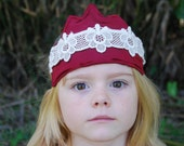 Eco Friendly Crown - Dress Up - Red - Hemp Silk with Organic Cotton Lace - Toy - Imaginative Play - Costume - Queen - Princess
