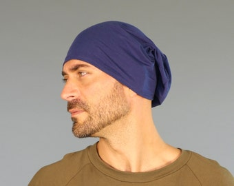 Men's Hat - Unisex Hat - Slouchy - Beanie - Navy Blue - Eco Friendly  Jersey - Organic Clothing