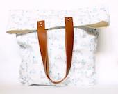 Yoga girl Tote, Cotton Linen, Leather Straps, Bunny Yoga, Yoga Chart, Bag