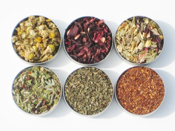 Holiday Sale - Organic Herbal Tea Sampler - 52mm tins - 6 herbal certified organic loose teas / no caffeine - soothing & relaxing tea gift
