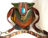 Large Leather Purse with Turquoise, Chrysocolla, or Malachite Stone, High End Tribe Fashion