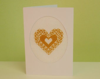 Lace Heart Cross Stitch Blank Greetings Card Love Anniversary Wedding Engagement Card