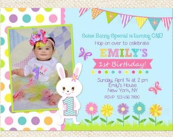 Bunny Birthday Invitations - Easter Bunny Birthday Invitations - Easter Invitations