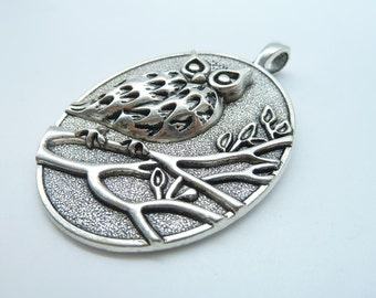 1pcs 47x70mm Antique Silver Huge Heavy Owl  Charm Pendant c3167